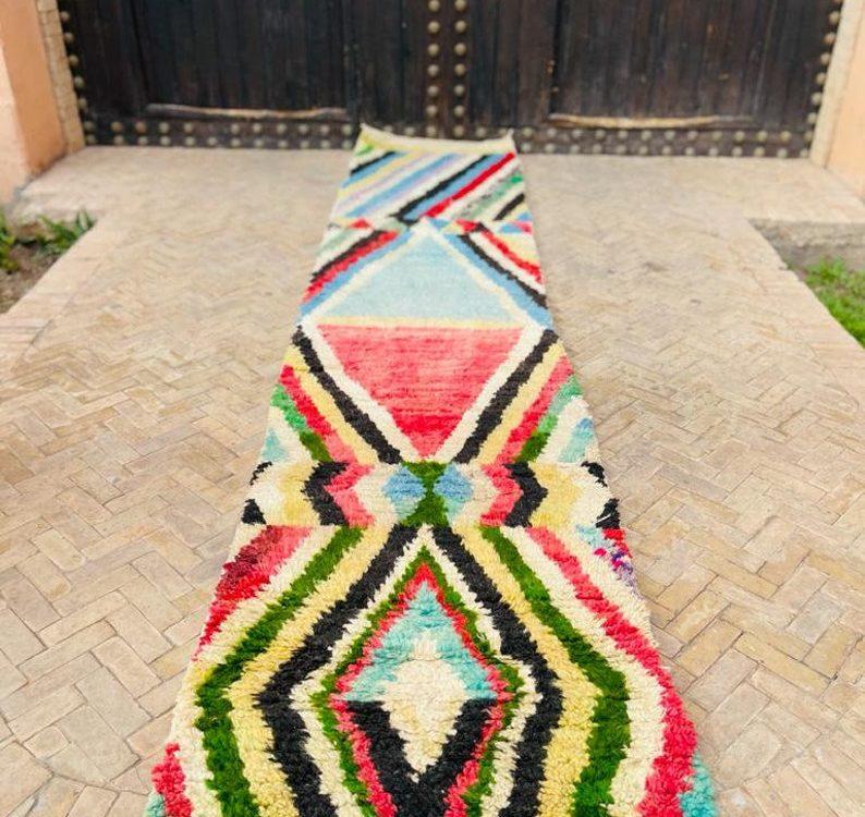 Fabulous Moroccan Runner, Handmade Runner Rug, Tribal Wool Carpet, Wool Rug, Boujad Wool, Abstract Purple Rug, Bohemian Rug, Tapis Marocain