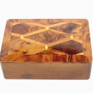 Thuya Wood Marquetryn Box - Fair Trade Box, Handmade in Morocco, Perfect jewellery, cufflink or trinkets box with wonderful finish