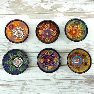 Set of 6 Mixing Embossed Small Ceramic Serving Bowls, Colorful Handmade-Painted-Thrown Pottery Turkish Greek Moroccan Gift for Her, Mom Wife