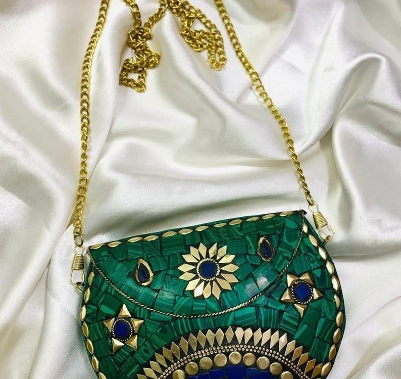 Green Antique Vintage Metal Clutch Evening Bag Handcrafted Stone Bag Made in India