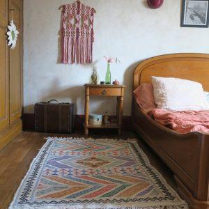 """Boho - ethnic moroccan Kilim - Bedside wool area rug - """"Belhaj style"""" colorful flat handwoven hanbel"""