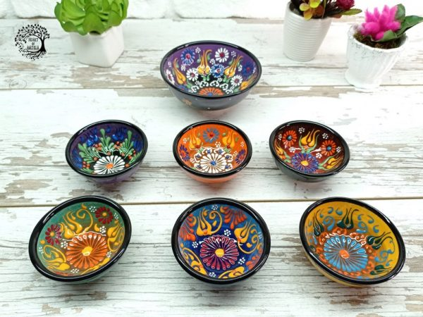 Set of 7 Unique Embossed Handmade Purple Ceramic Bowls, Appetizer, Sauce, Snack, Tapas, Mezze Turkish Moroccan Pottery Dish Gift For Her
