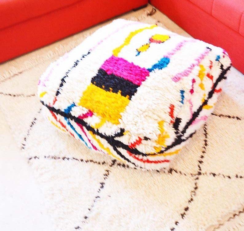 Azilal Moroccan Berber Carpet Pouf