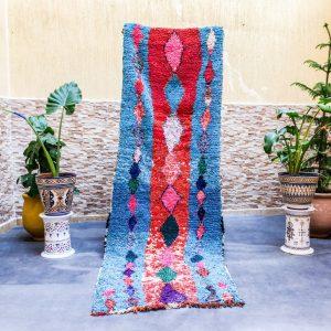 BerberHandicraft : Scandinavian rug, Boucherouite rug, Vintage Moroccan rug 3x9 for your hallway – 85x260 Cm