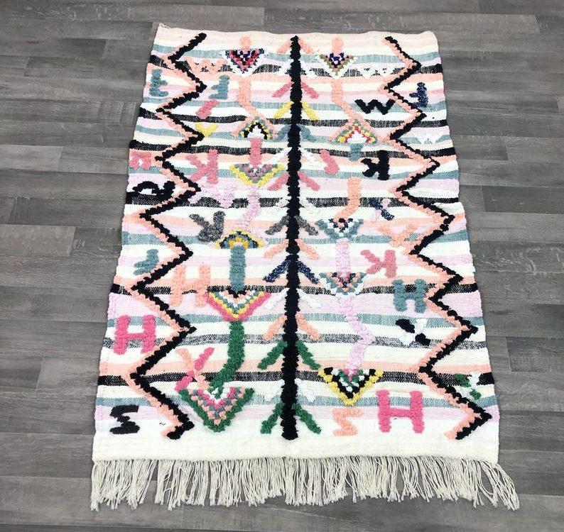 Boucherouite Rug, moroccan boucherouite rug , azilal rug ,vintage boucherouite , berber boucherouite 5x3 Feet