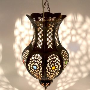 Antique Brass Belly shape Moroccan Ceiling Lantern In Hand Pierced Tin - H45 Ø25 cm