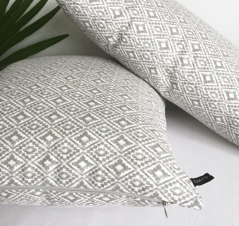 Aztec diamond cushion cover/Geometric cushion cover/Morocco style cushion/Lumbar cushion/Ikat cushion/Orange aztec cushion/grey aztec pillow
