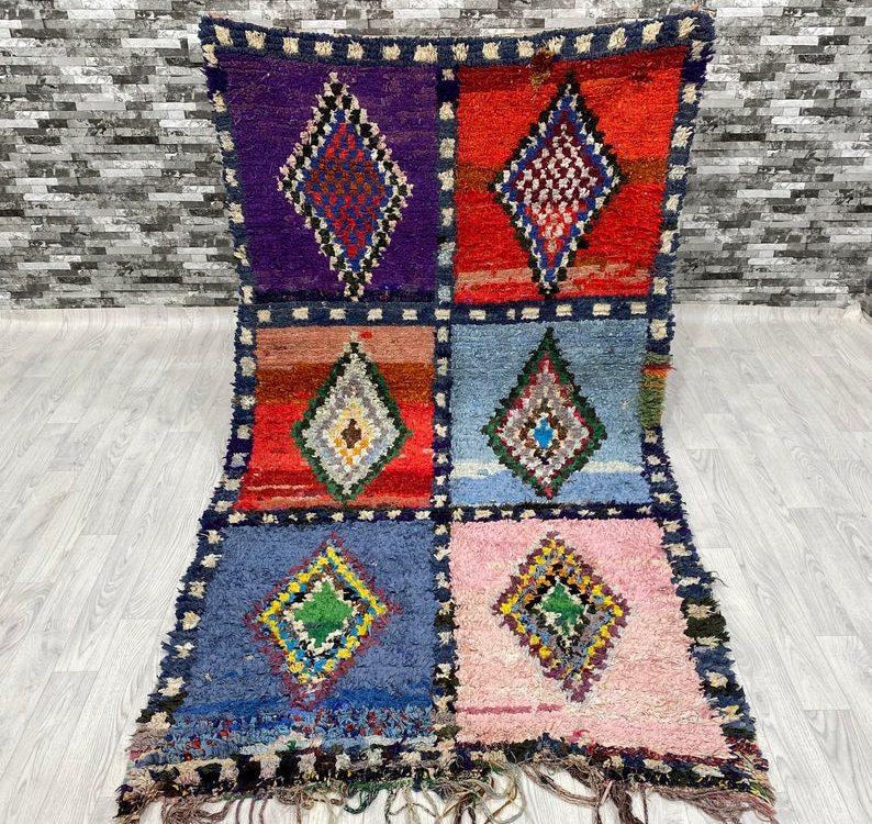 Vintage Boucherouite Carpets Moroccan Berber Rug Free Shipping Area Rug Gift Rug ( 130 x 235 Cm )
