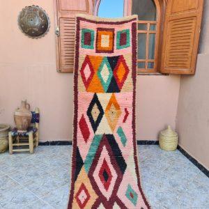 10.6x2.4 ft Geometric Runner Boujad Rug - Hallway Long runner - Handmade Berber runner Rug - Vintage carpet - 100 % handwoven -FREE SHIPPING