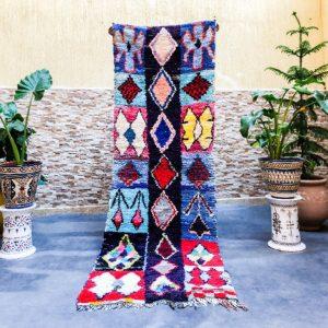 Berber Handicraft : Colorful Moroccan rug, Boucherouite rug 3x8, Vintage Berber rug – 80x240 Cm
