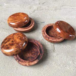 Three Stunning Boxes, 7.5cm diameter. Handmade in Morocco from Thuya Wood, Beautiful, Birthday, Valentine Gift