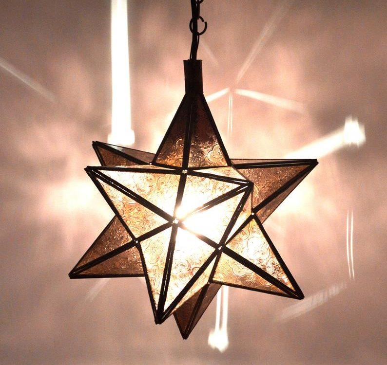 Antique Brass Moroccan Ceiling Lantern Star light grey glass Di 45 Cm -