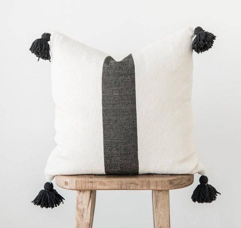 Moroccan Pillow Cover/Moroccan Wool Cotton Pillow Cover-Handmade Soft Moroccan Boho Grey Striped Pillow Cover | Moroccan Pillow Shams