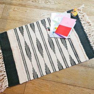 Moroccan Kilim Style Boho Cotton Weave Tufted Rug - Black & White *LIMITED STOCK*