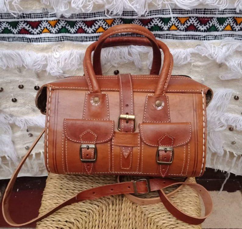 Moroccan leather bag, Moroccan shoulder bag.handmade natural leather.boho bag, Berber leather bag,women leather bag, Moroccan handbag