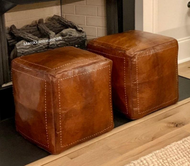 SET OF 2 Square Poufs, leather Moroccan pouf. Handmade ottoman pouf , handmade puff, moroccan pouffe moroccan pouf