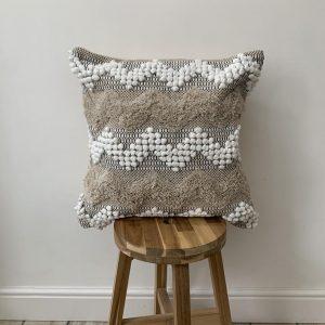 Beige Bohemian Cushion Cover, Throw Cotton Cushion, White Tufted Cushion Pillow, Moroccan Style Cushion