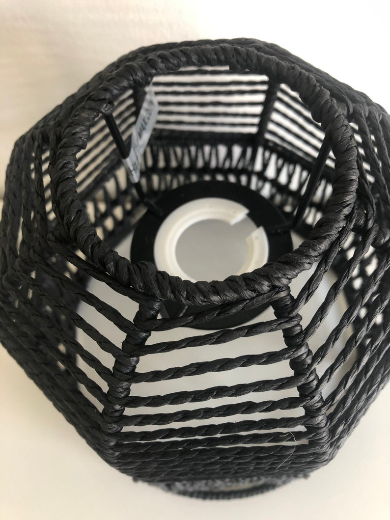 moroccan style Woven Pendant Lightshade Black
