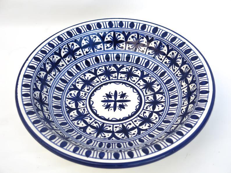 Moroccan decorative medium bowl/ceramic wall hanging bowl/ceramic art deco/ceramic interior decor// wall deco pottery bowl
