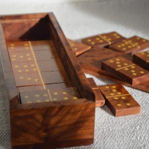 "Moroccan Handmade thuya wooden Dominoes Game "" 28 Pieces"""