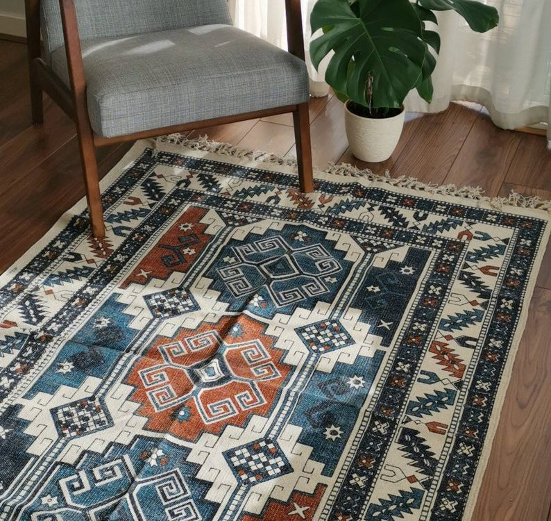 6ft by 4ft Vintage Style Cotton Handwoven Handmade Area Dhurrie Rug   Persian Kilim Look   Moroccan Carpet Style   Bohemian Geometric Carpet