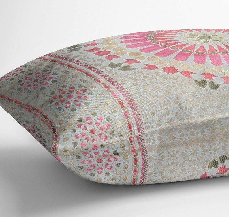 Moroccan Salon Jacquard Pattern Tiles Pillow Cover Pink Green Gold