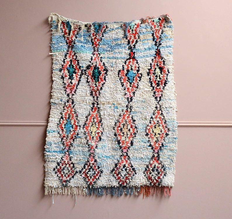 Original Vintage 1970's Handmade Textured Moroccan Boucherouite Berber Rug #27