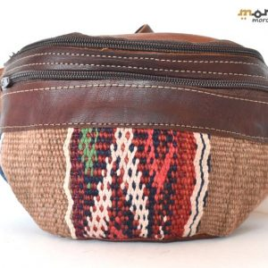 Geometric Leather Fanny Pack, Unique design Kilim, Handmade Fanny Pack, Leather Bag, Embroidered rug and leather, Moroccan Style
