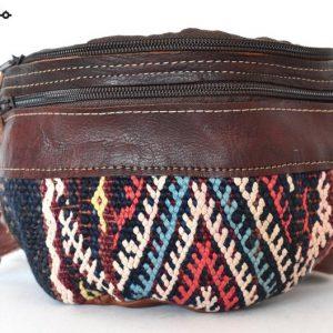 Leather Fanny Pack, Unique design Kilim, Handmade Fanny Pack, Leather Bag, Carpet and leather, Moroccan bag Style, Unisex fanny pack