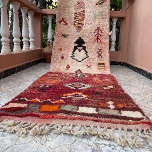 """Boujad Moroccan Handmade Vintage Runner 2'5""""x11'2""""Geometric Beige Burgundy Rug"""