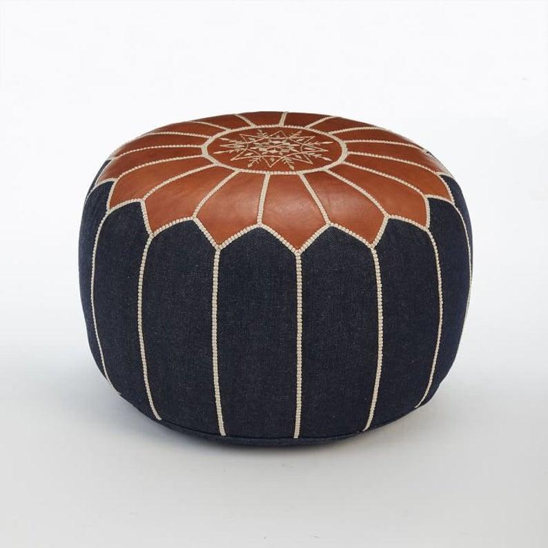 """40% """""""""""""""" Denim Leather pouf, Moroccan pouf, Berber pouf, ottoman pouf, Moroccan ottoman leather pouf 'unstuffed '"""