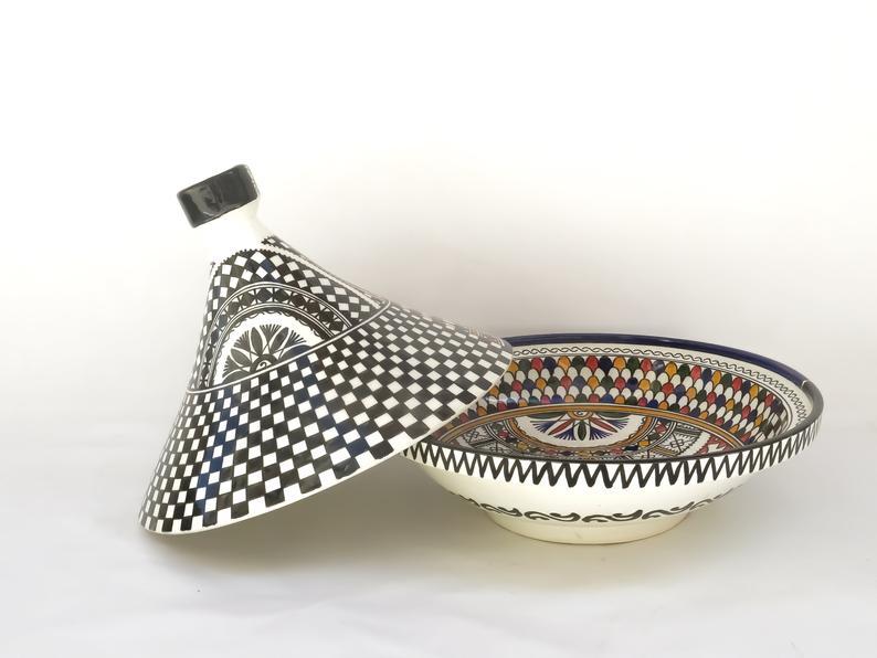 Large Moroccan ceramic tagine/ hand-painted tagine/decorative handmade tagine/kitchenware/serving tagine/ceramic tagine pot/