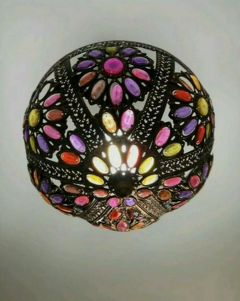 Moroccan Jewelled Rubies Uplighter Lamp Pendant Shade Home Decor Living Room Hallway Bedroom Light