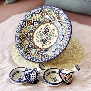 Fes Moroccan art pottery multicolored design/ Large wall hanging bowl - 2 Mini tagines offered