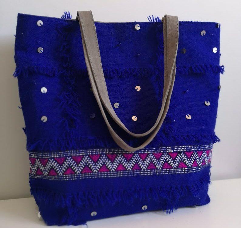 Blue Beach bag, Moroccan handmade, Women's shoulder bag made from Zanafi carpet Free Shipping