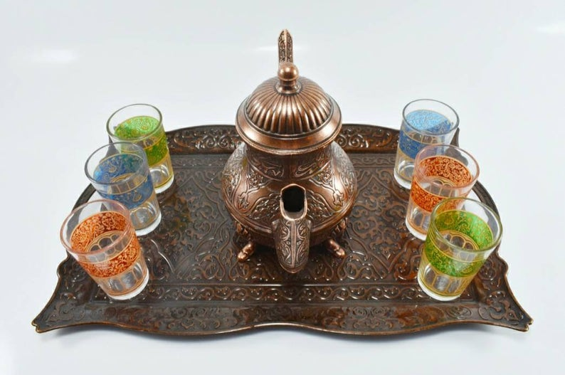Traditional Moroccan Mint Tea Set, Engraved Tea Tray, Copper Color Tea Pot, Teapot, Mint Tea Set, Mother's Day Gift, Arabic Tea Set, Cooffe