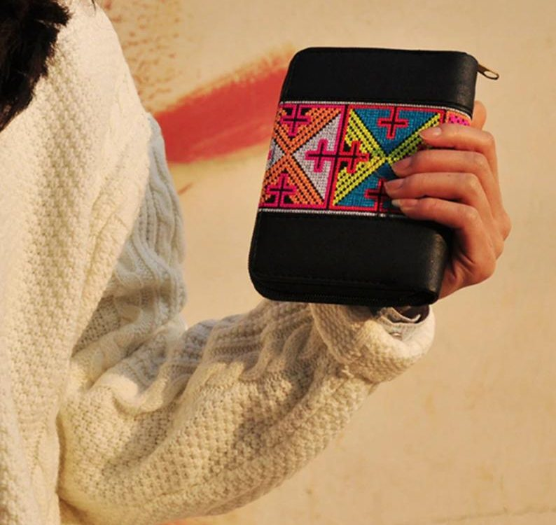 Moroccan Vintage Ethnic Floral Embroidered Coin Clutch purse lady card Long Wallet Coin phone Card Holder Handbag