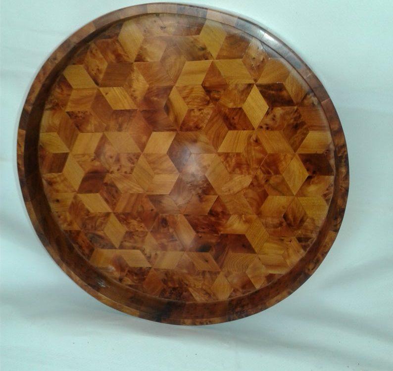 Wooden circular tray made of thuya burl, thuya wood handmade Morocco, circular trays thuya wood, new tray ,