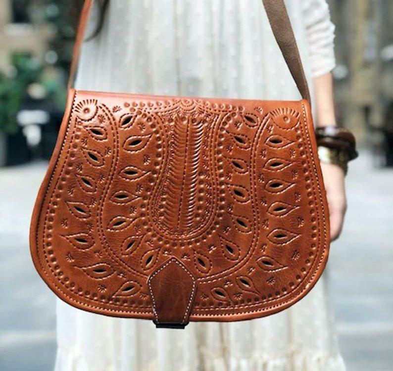 Floral CUT OUT LEATHER Bag, Vintage Boho Purse, Moroccan Berber Bag, Hippie Leather Satchel, Tooled Saddle Bag, Burnt Orange, Bohemian Look