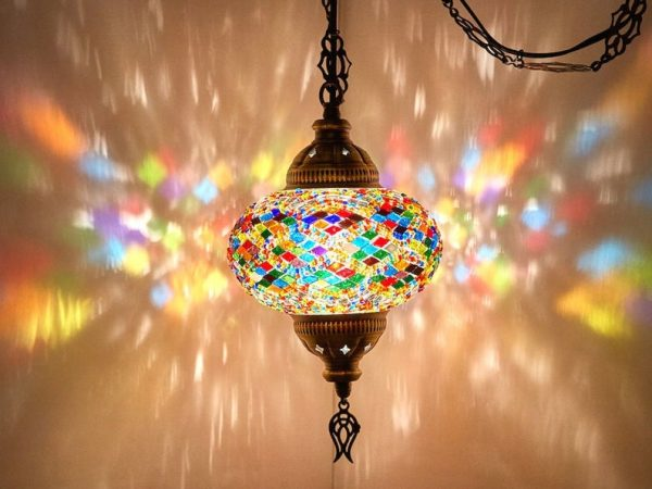 8 Colors - SWAG PLUG IN Turkish Moroccan Mosaic Hanging Ceiling Lamp with 15feet Chain Cord & Plug
