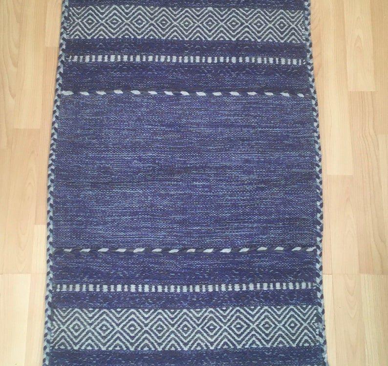 Blue Kilim Rug, Moroccan Rug, Moroccan Kilim Carpet, Tribal Floor Rug, Handmade Red Kelim, Boho Style Rug, 63 x 110 cm, one piece only