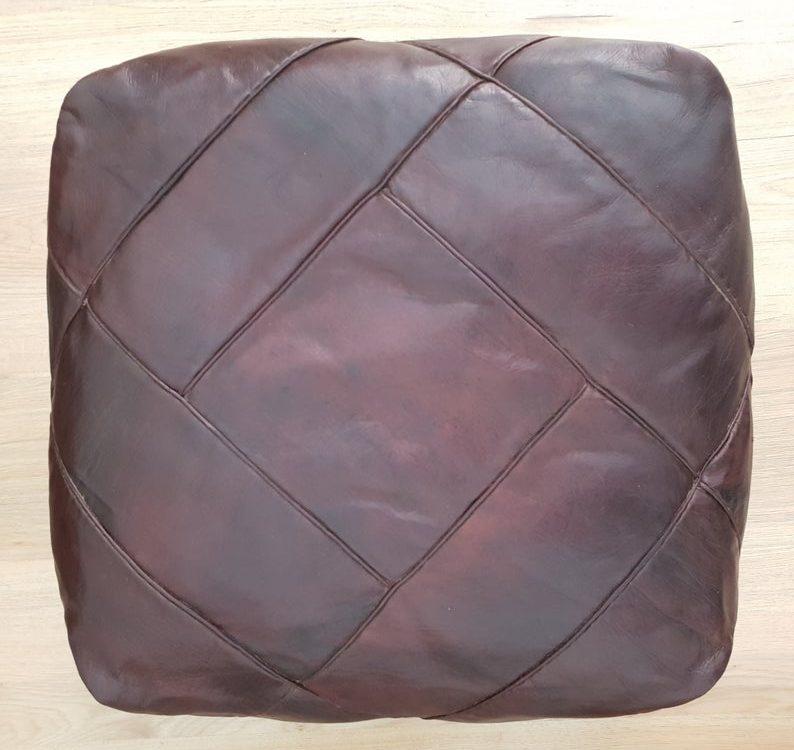 Square Moroccan Pouf, Dark Brown Moroccan Leather Pouf, Ottoman Moroccan Floor Pillow Cushion, Morocco Pouffe