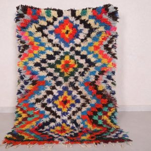 Moroccan Berber rug 3.3 FT X 5.1 FT - Vintage Berber carpet - Handmade rug - Boucherouite rug - Vintage Moroccan rug