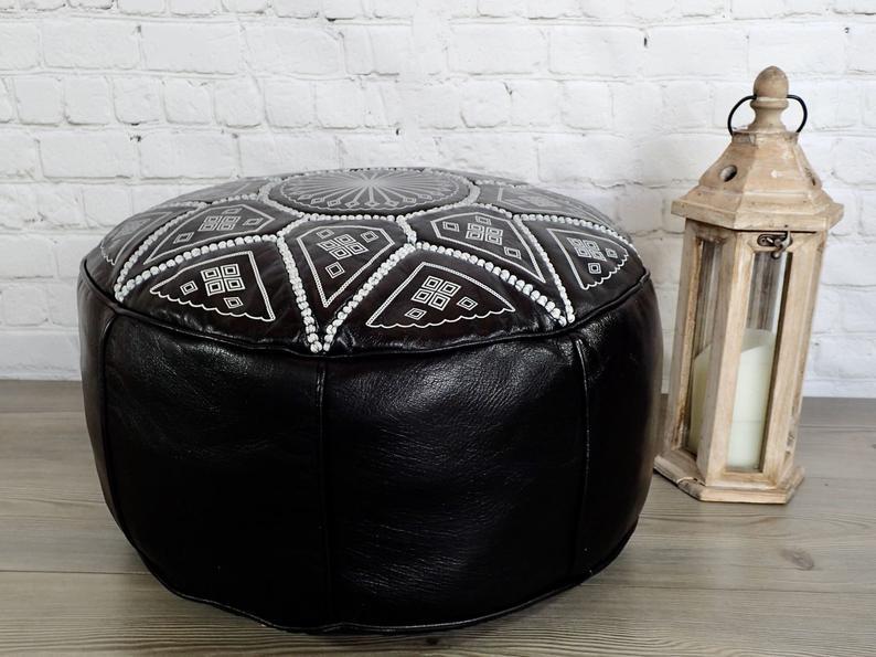 Moroccan Leather Ottoman Pouf