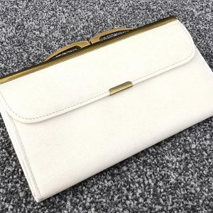 Luxan Hide Morocco Vintage Leather Ladies Cream & Red Purse, Made In England 60's