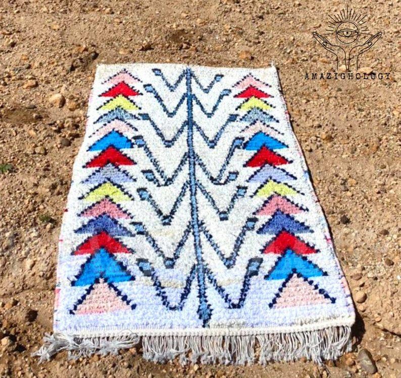 Boucherouite rug | Rag rug patterns | Tuareg Rug | Berber Boucherouite Carpet | Bedside rug | Recycled ethnic rug | Morrocan rug
