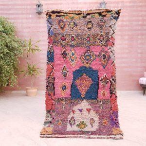 """Vintage Moroccan Rug, Boucherouite rug 3.3x6.3 """"Magical Doors"""" Stunning Berber rug bedroom rug, living room rug colorful rug boho rug"""