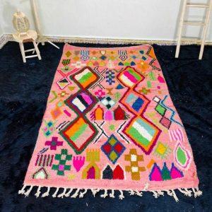 Authentic Moroccan rug , Moroccan Boujad Rug, Azilal rug, Bohemian Rug, Handmade Rug, Pink Rug, Berber carpet, Berber Rug, Tapis Marocain