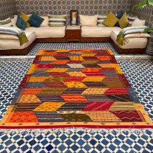 Moroccan Wool Rug | Fabulous Berber Kilim |Colorful Handwoven Rug | Home Decor Moroccan Berber Rug | 9.8 x 6.5 feet