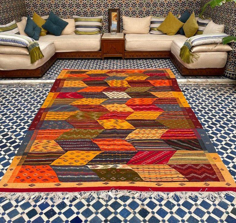 Moroccan Wool Rug   Fabulous Berber Kilim  Colorful Handwoven Rug   Home Decor Moroccan Berber Rug   9.8 x 6.5 feet